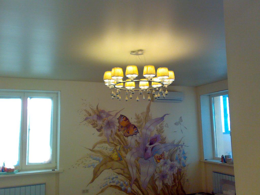 Сатиновые натяжные потолки фото для зала, компания производитель Потолок Мастер.
