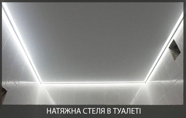 Натяжна стеля в туалеті фото