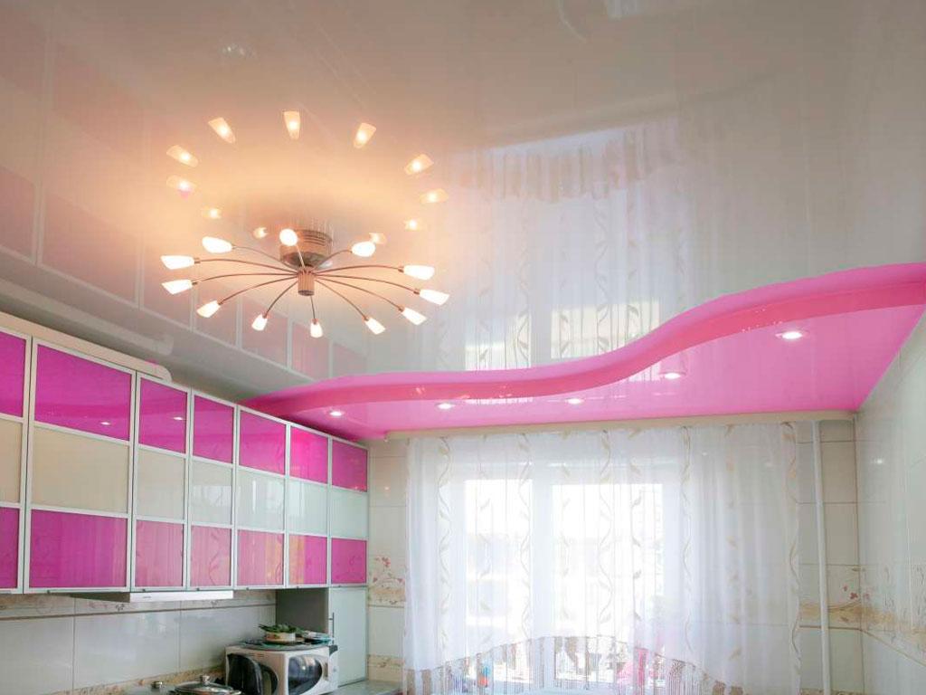 Двокольорні натяжні стелі для кухні