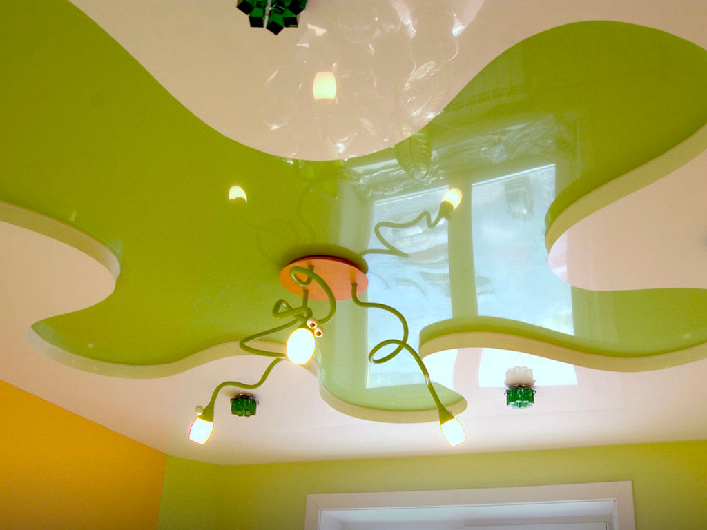 Дизайн Двокольорних натяжних стель в Вінниці
