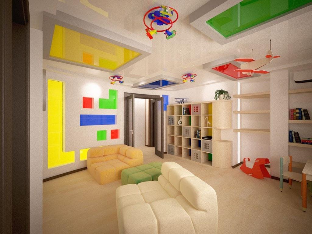 Дизайн натяжної стелі в дитячій фотографії
